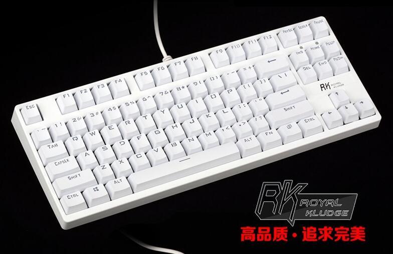RK RG987 tenkeyless TKL white mechanical keyboard Kailh mx brown blue switches gaming keyboard white LED ABS keycap