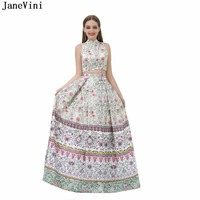 JaneVini Satin 2 Pieces Bridesmaid Dresses High Neck 2018 A Line Arabic Prom Dress Floral Print Floor Length Wedding Party Gowns