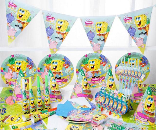 New 51 88pcs set SpongeBob theme party set kids birthday party suppliers child Decoration evening party set celebration decor