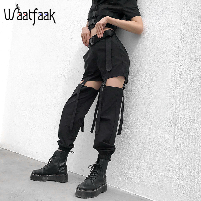 Waatfaak Buckle Hollow Out Black Cargo Pants Female High Waist Streetwear Sweatpants Long Loose Summer Trousers Women Strappy