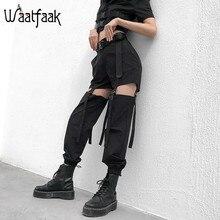 Summer Trousers Buckle Cargo-Pants Strappy Waatfaak Black Loose High-Waist Women Streetwear