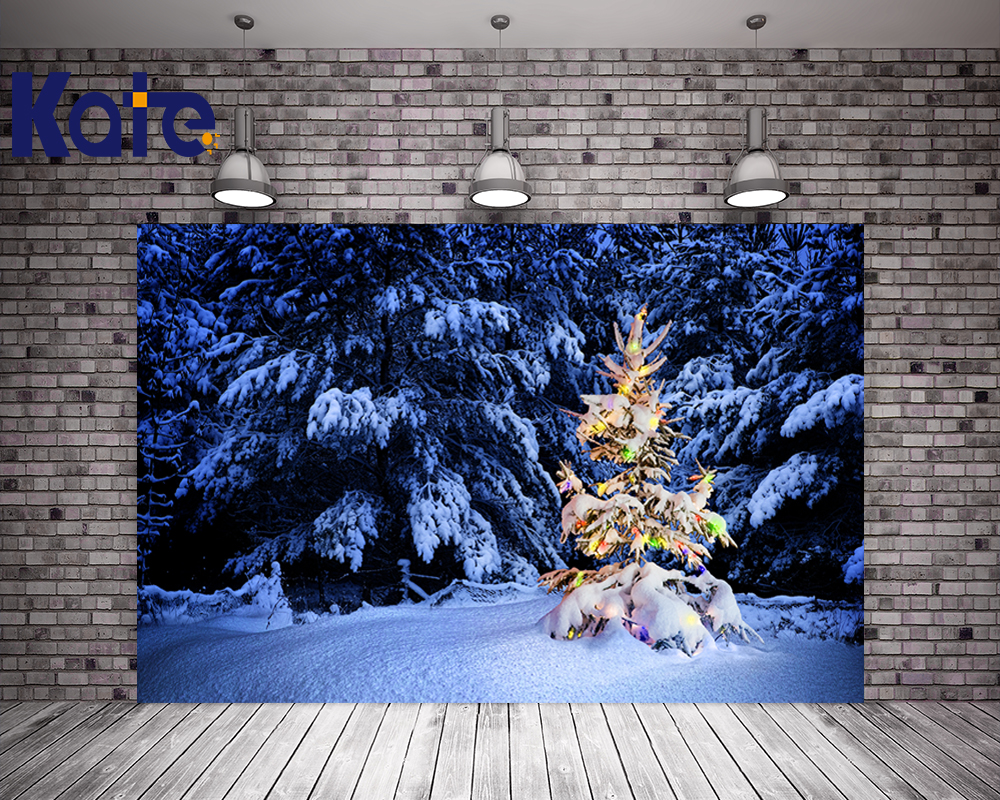 Kate Christmas Backdrops Photography Night Blue Sky Frozen Snow Photo Backdrop Christmas Tree For Children Background retro background christmas photo props photography screen backdrops for children vinyl 7x5ft or 5x3ft christmas033