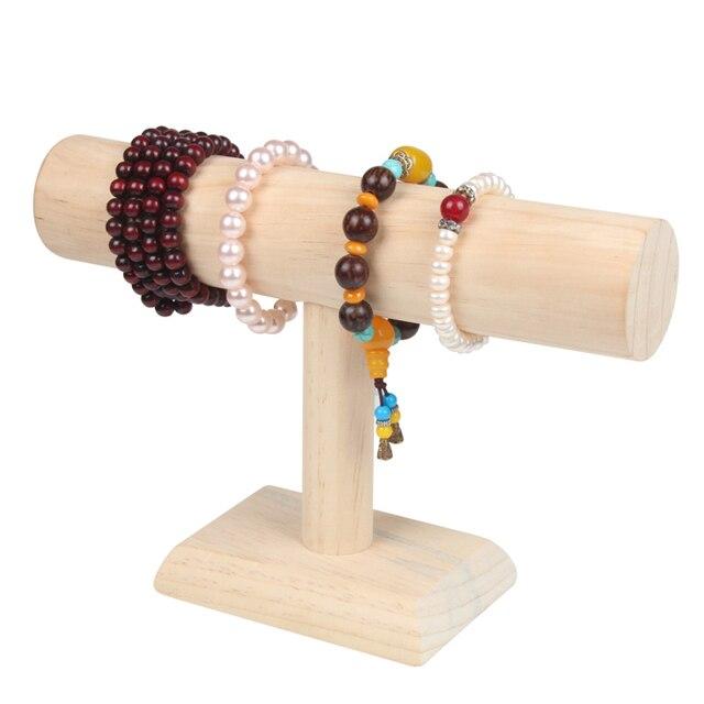 High Quality Wood Bracelets Bangle Display T Bar Jewelry Holder Double