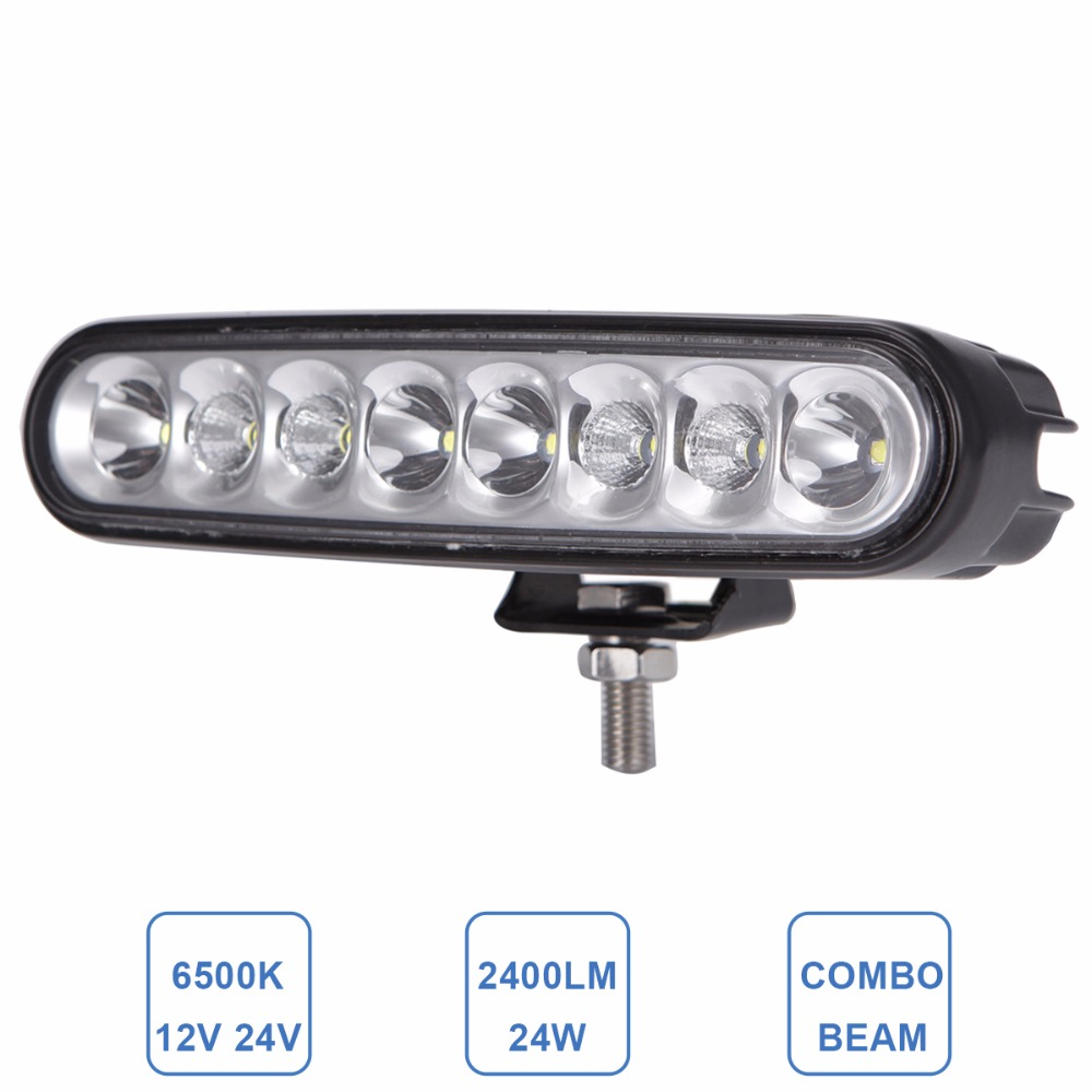 Offroad 24W 6'' Car LED Work Light Bar Headlight SUV Truck Trailer Wagon Pickup 4x4 Motorcycle 4WD Combo DRL 12V 24V Fog Lamp