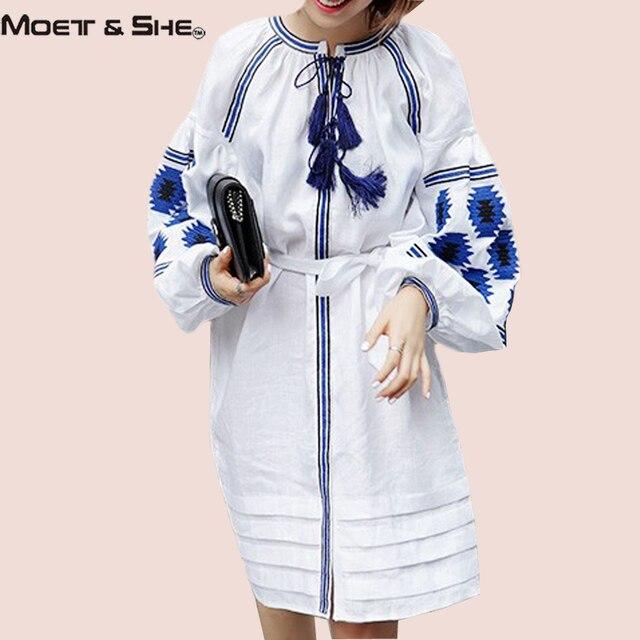 Moet & She Ethnic Dress Для Женщин Чешского Стиль Половина Рукава Фонарь Абстрактный Узор Вышивки Кисточкой Бинты Vestidos D67322R