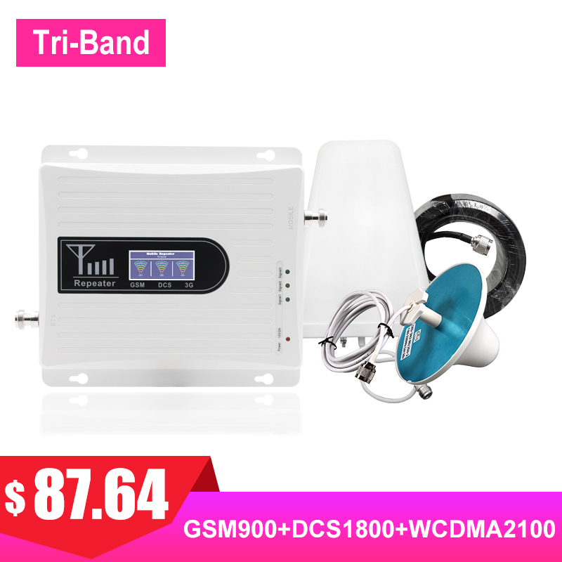 TriBand Cellular Signal Amplifier 4G LTE 1800MHZ GSM 900MHZ Band1 Band3 2G 3G 2100MHZ Cell Payload Booster LPDA Antenna Kit #