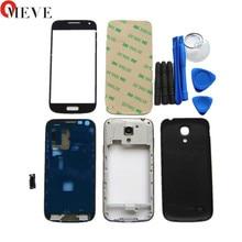 Yeni Tam Set Samsung Galaxy S4 mini i9190 i9192 i9195 Konut Case + Orta Çerçeve + arka kapak + Ön cam + Yapıştırıcı + Araçları
