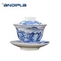 170ml Noble Gaiwan Hand Painted Landscape Pattern Porcelain Tea Bowl Chinese Kung Fu Tea Set Drinkware Art Decoration Collection
