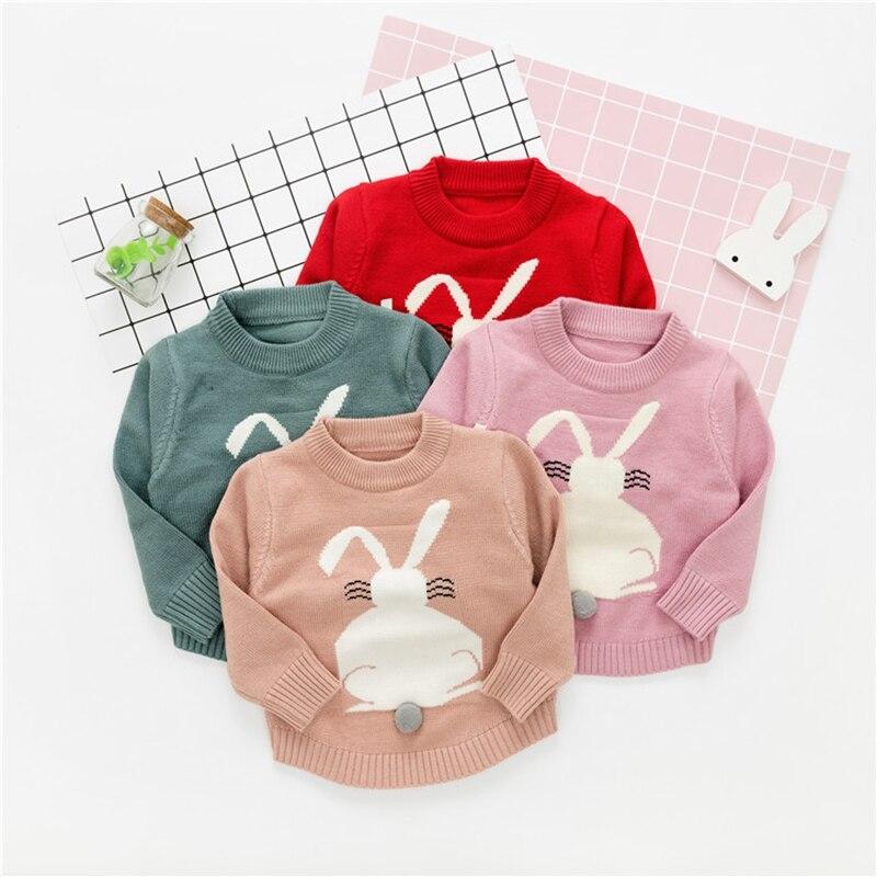 WYNNE GADIS Autumn Winter Infant Girls Knitwear Cartoon Rabbit Long Sleeve O Neck Princess Kids Baby