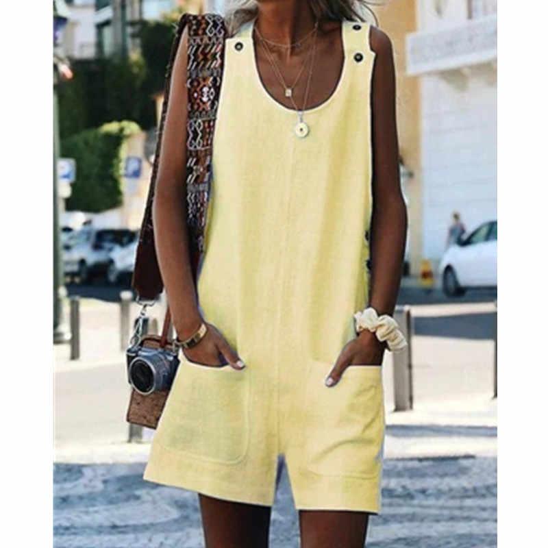 2019 nova mulher perna larga calças curtas playsuits estilo boêmio casual sólido linho macacões senhoras sexy bodysuits beach wear w3