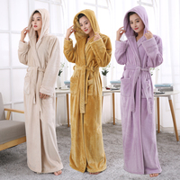 Lovers Hooded Extra Long Thermal Bathrobe Women Men Plus Size Winter Thickening Warm Bath Robe Dressing