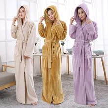 คนรัก Hooded ยาวพิเศษความร้อนเสื้อคลุมอาบน้ำผู้หญิง Plus ขนาดฤดูหนาวหนา Robe Dressing Gown ชุดเพื่อนเจ้าสาว Robes