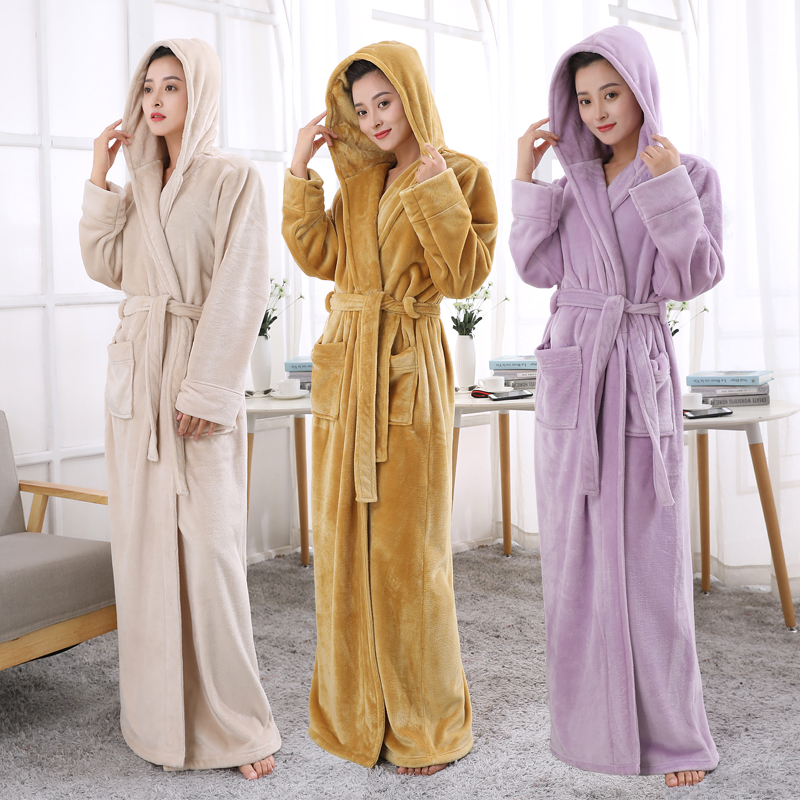 b802f8c8ea Lovers Hooded Extra Long Thermal Bathrobe Women Men Plus Size Winter  Thickening Warm Bath Robe Dressing Gown Bridesmaid Robes-in Robes from  Underwear ...