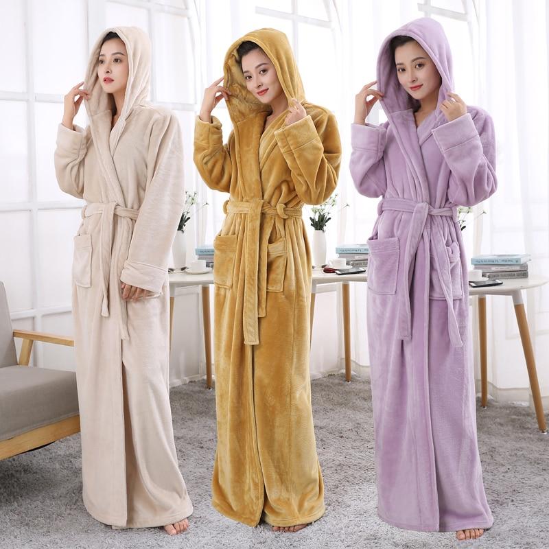 Hot Sale Lovers Hooded Extra Long Thermal Bathrobe Women Men Plus ...