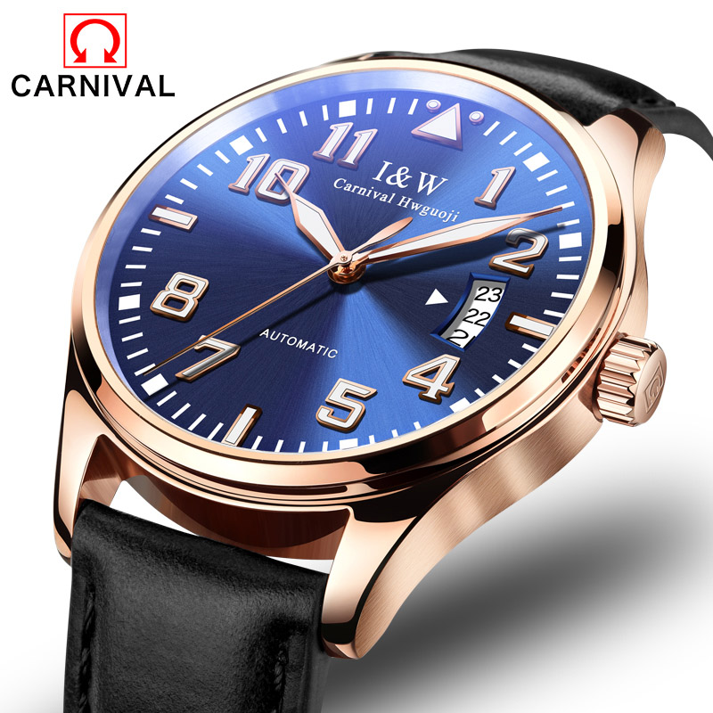 Luxury Carnival watch men Sapphire Stainless Steel Automatic machine Waterproof leather watch relogio masculino luxury waterproof watch men sapphire glass military leather strap date week automatic machine watch relogio masculino