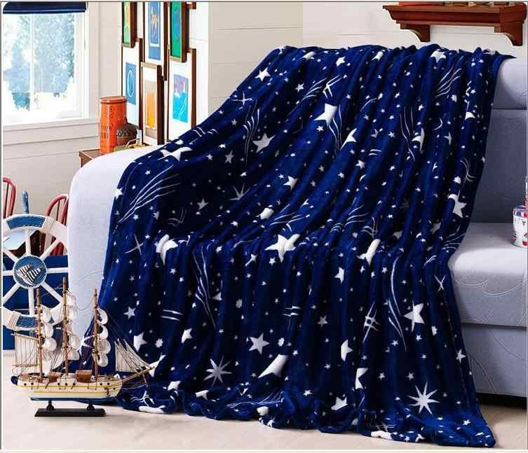 Мягкое прямоугольное фланелевое одеяло с принтом в виде белых звезд и темно-синего цвета, 200*230 см или чехол для дивана