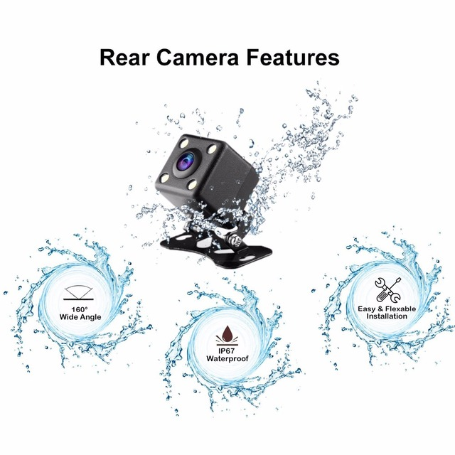2018 Auto Dual Lens 3 Inch Dash Cam Car DVR 1080P Video Recorder Registrator with Backup Rearview Camera Cam Corder Display 2