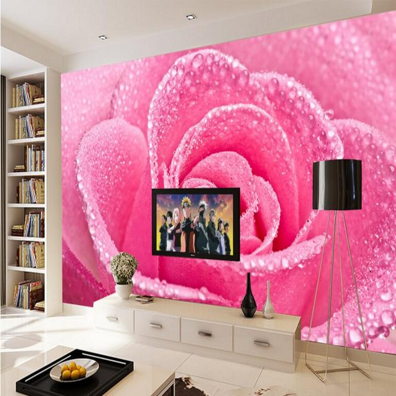 Beibehang large custom wallpaper beautiful romantic pink for Pink living room wallpaper