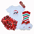 Baby Christmas New Year Gift 2016 Cotton Santa Claus XMAS Bodysuit + PP pants Legging Warmer 0-2Years Newborn Baby Girl Clothing