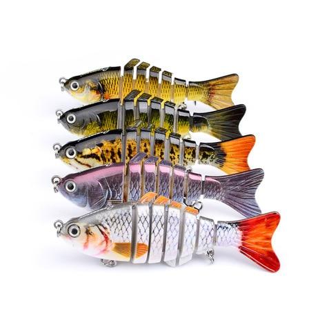 1 pcs lifelike 7 segements multi articulado pesca isca 10 cm 15 5g wobbler crankbait