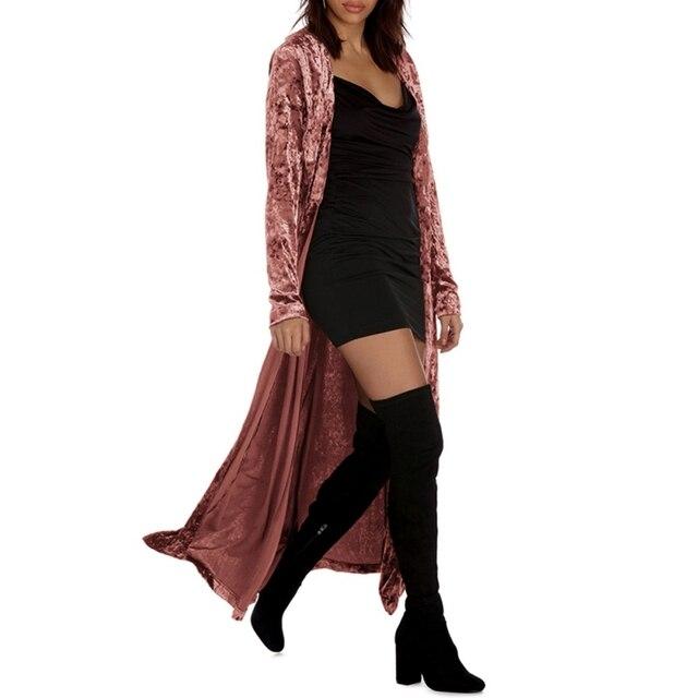 ארוך שרוולים מורחב קטיפה תעלת גבירותיי ארוך אפודות אופנה תורו למטה צווארון Slim מעילי Streetwear