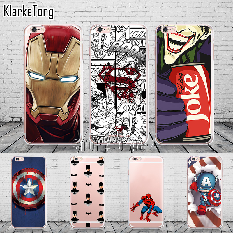 For Iphone 6 Phone Case Soft Silicone vengeance Marvel hero design Cases Cover for Iphone 6s plus Slim  Coque marvel glass iphone case
