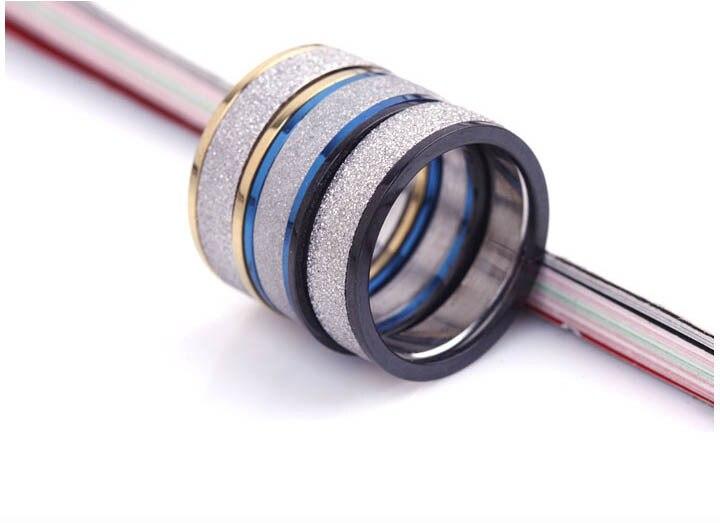 El anillo para hombre de acero inoxidable de plata envío gratis se puede desmontar en 3 anillos tamaño de esmalte opaco 6 7 8 9 10