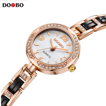 Fashion luxury brand Women's Bracelet Watches casual ladies quartz watch Alloy Crystal Wristwatch Gift Gold Dress relojes mujer