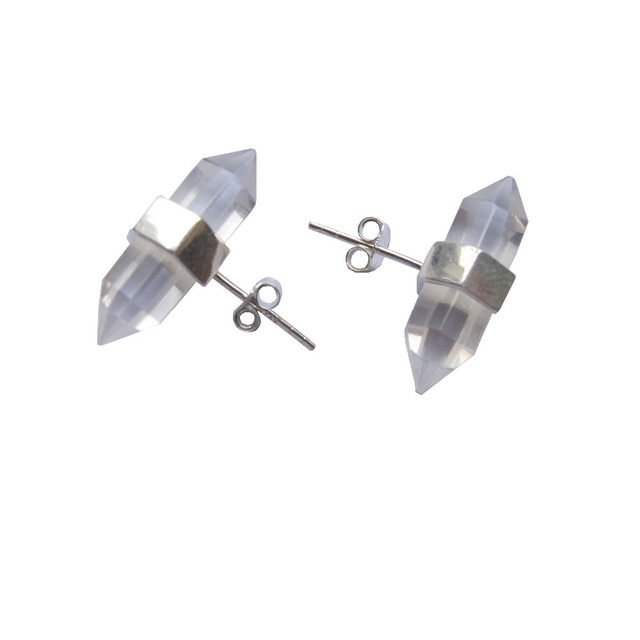 New Designed Solid Sterling Silver Earring Natural Clear Quartz Nuts Jewelry 2paris Lot