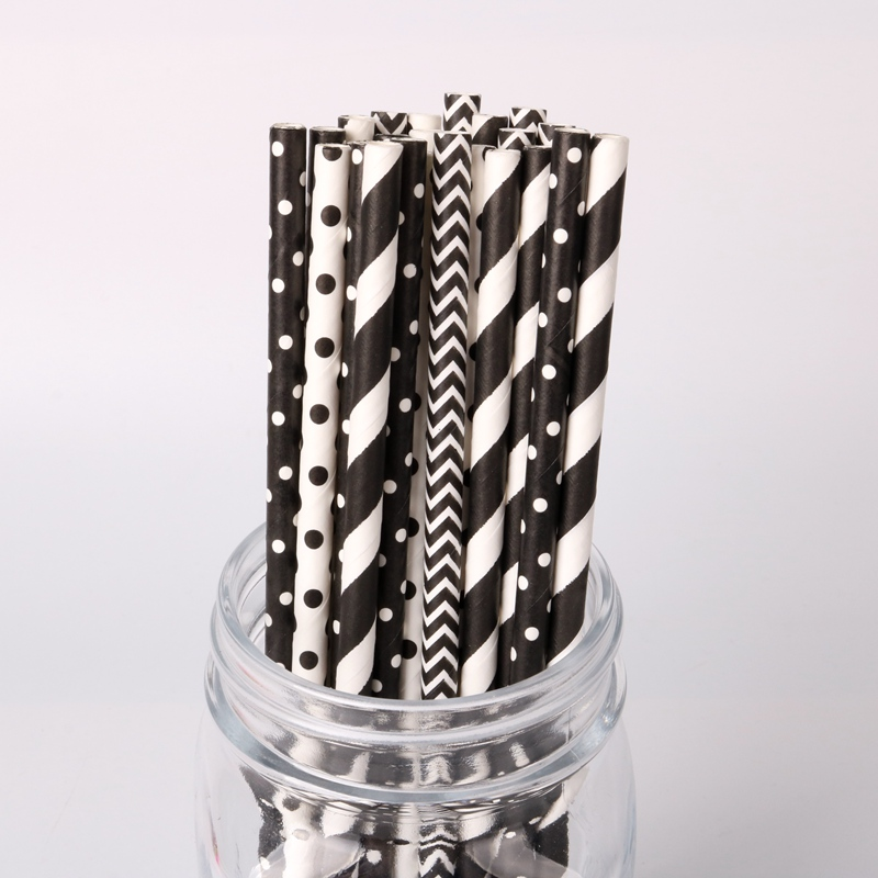 25pc Black White Striped Wave Paper Drinking Straws For Birthday Wedding Party Baby Shower Party Disposable Tableware Supplies-in Disposable Party Tableware from Home & Garden