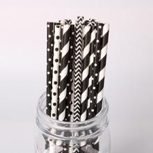25pc preto branco listrado onda papel bebendo palhas para festa de aniversário festa de casamento chá de fraldas artigos de mesa descartáveis