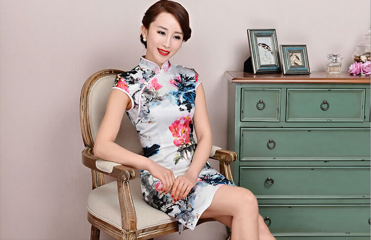 Ethnic Fashion Cheongsam dress short Slim retro cheongsam Qipao Soft Silk Traditional Chinese Clothing Summer Style Qipao Hot