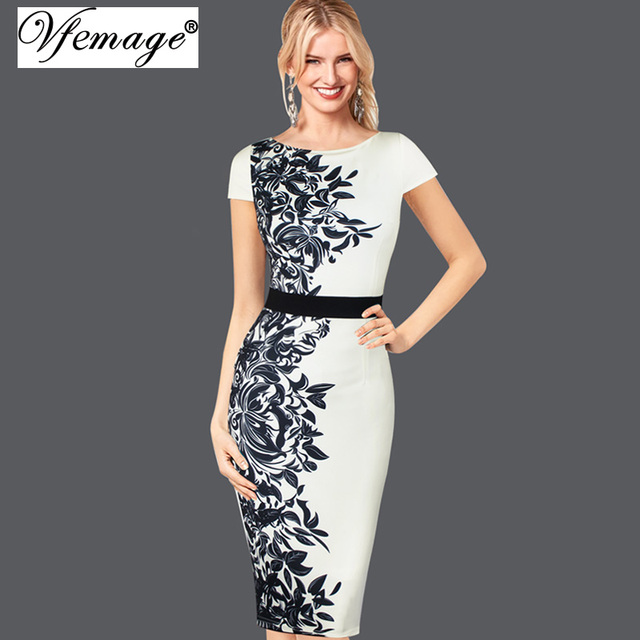 0e99eb798 Vfemage mujeres elegante Vintage contraste Floral flor impresión Casual trabajo  Oficina fiesta Bodycon Vestidos tubo vaina