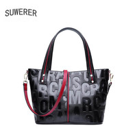 SUWERER high quality fashion luxury brand leather new portable tote bag ladies bag letters wild top layer leather Messenger bag