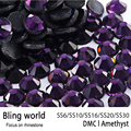 Mix Size Heat Transfer Round Flatback Amethyst DMC Hot Fix Rhinestones for Phonecase Decoration DIY Nail Art