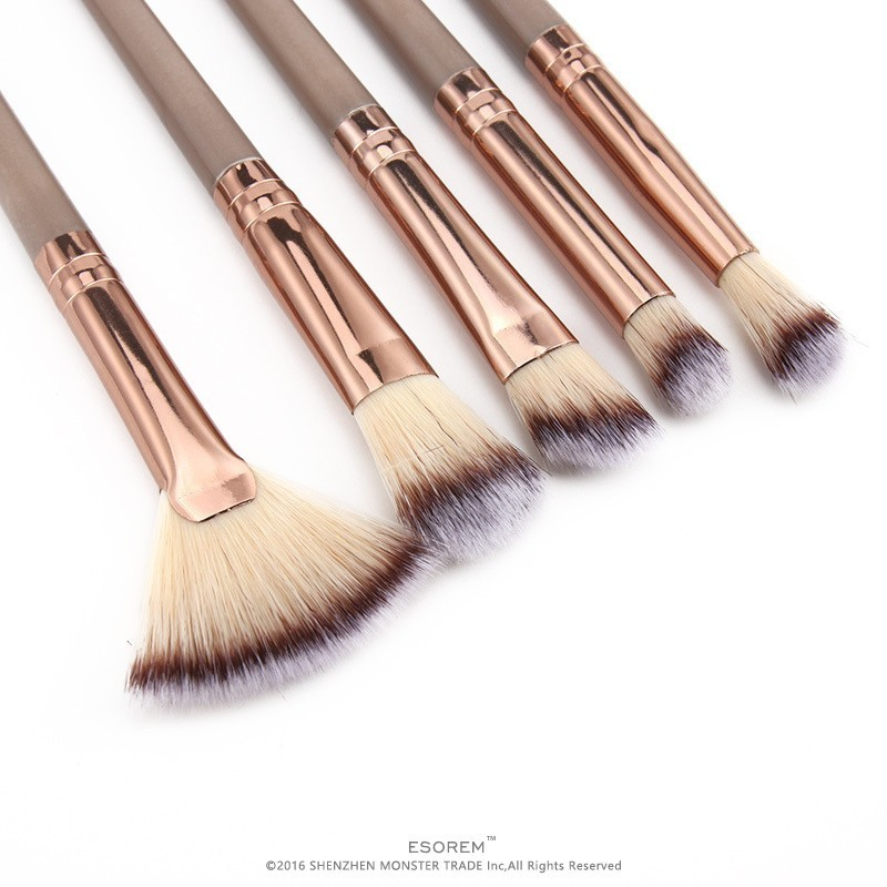 ESOREM 12 13 Pcs Champagne Color Makeup Brush Sets Cosmetic Brushes Flat Definer Angled Eyeliner Concealer Pinceles Maquillaje in Eye Shadow Applicator from Beauty Health