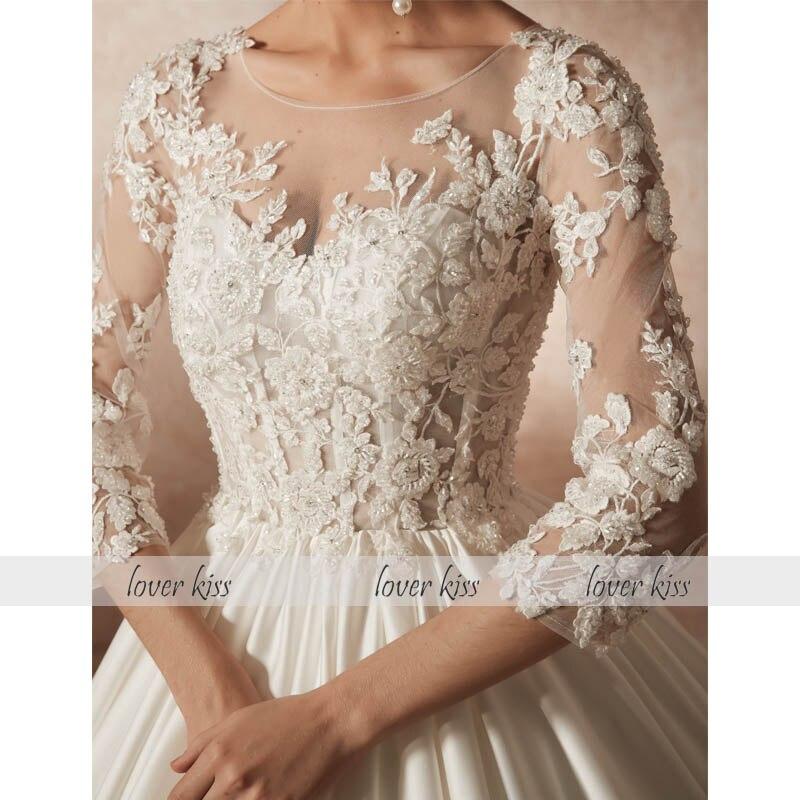 Lover Kiss Vestido De Noiva Princess Satin 3 4 Sleeves Wedding Dress Heavy  Beaded Bride Dresses 2019 abiti sposa robe de mariage-in Wedding Dresses  from ... dc050e36f427