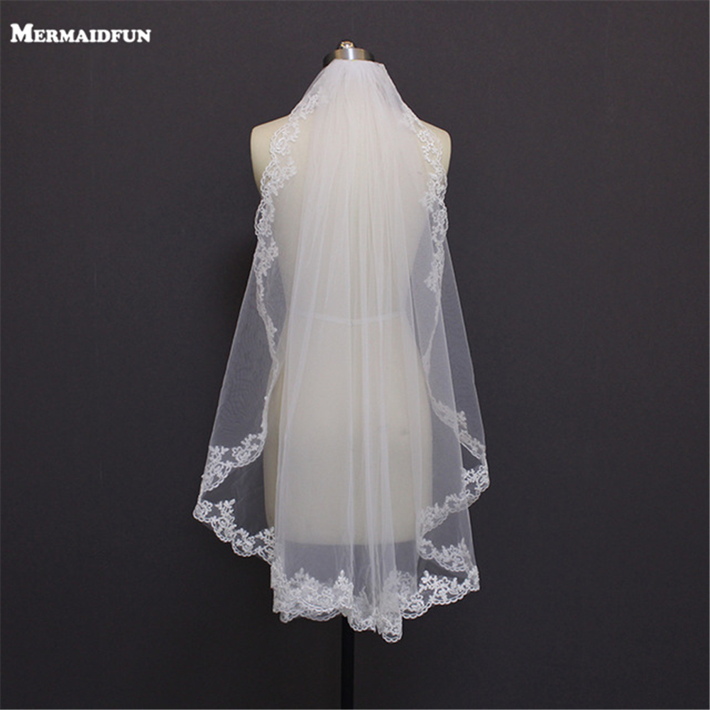 MERMAIDFUN New Elegant Lace Edge Short Wedding Veils With Comb Real Photos Bridal Veil For Bride