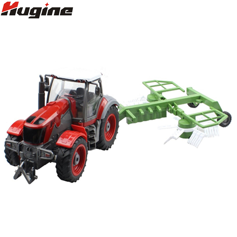 RC Truck 4 Channel Farm Tractor Plough Set Paratactic Double 5 Blade Rake Remote Control Farm Tractor With Plough Model Toy 100% original eps dfx5000 tractor set