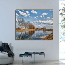 Lake Tree Picturesque Scenery Wall Art Poster Print Canvas Painting Calligraphy Decorative Picture for Living Room Home Decor