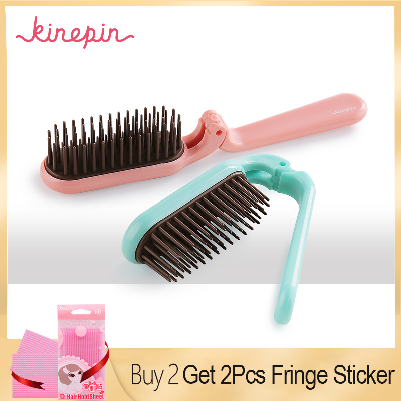 Kinepin Pocket Folding Hair Brush Comb Portable Collapsible Travel Essentials Scalp Massage Plastic Hair Comb Brush Hairdressing