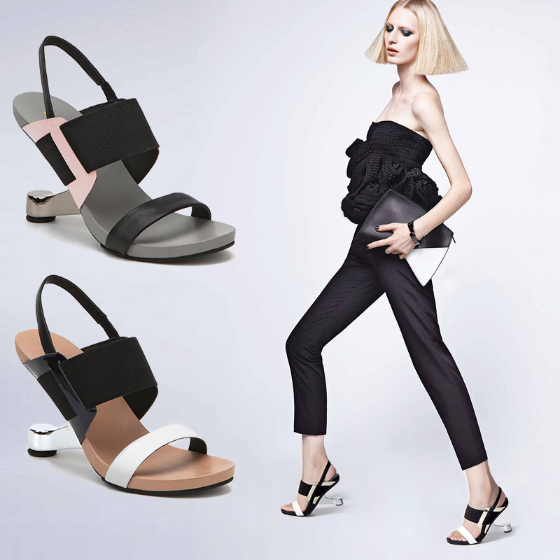 Free shipping high heeled sandals female fashion 2016 genuine leather wedges leather font b women s