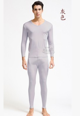 Tai hang zhengpin add 100 % mulberry silk autumn garment knitted silk men V neck warm underwear
