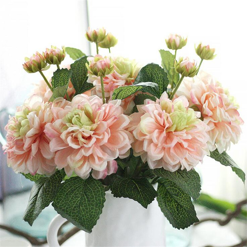 6 Pcs Artificial Decoration Dahlia Decor Rose Flowers Silk Fl Wedding Bouquet Home Party