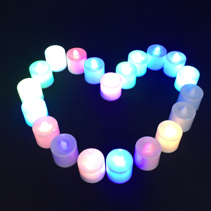 Fashion 80pcs Battery Powered LED Candles Lamp Simulation Colorful Flameless Safety Environmental Protection Party Decoration