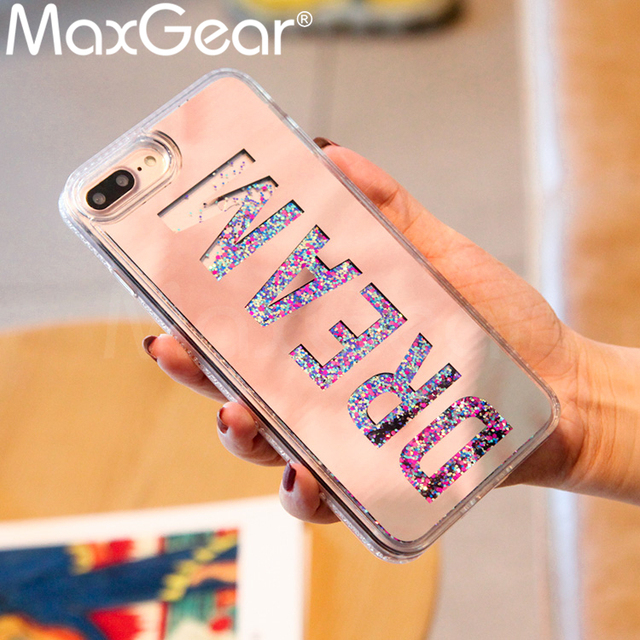 separation shoes 705d3 243fd US $2.56 20% OFF|MaxGear Luxury Dream Mirror Glitter Dynamic Liquid  Quicksand Phone Case For iPhone 6 6S Plus Case For Iphone 7 8 Plus X  Cases-in ...