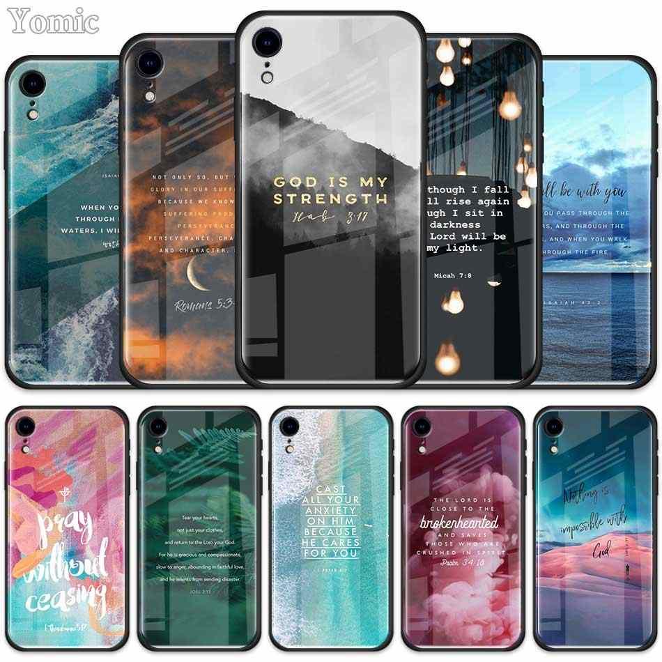 Verset de la Bible étui en verre trempé pour Apple iPhone XR 7 8 6 6S Plus 11 Pro X XS MAX housse de téléphone portable noir Coque de bord souple