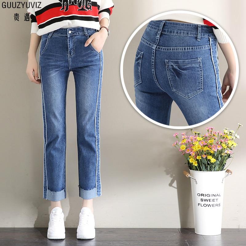 Jeans Guuzyuviz Autumn Winter Casual Jeans Woman Cotton Elasticity Denim High Waist Plus Size Patch Work Washed Harem Pants Mujer