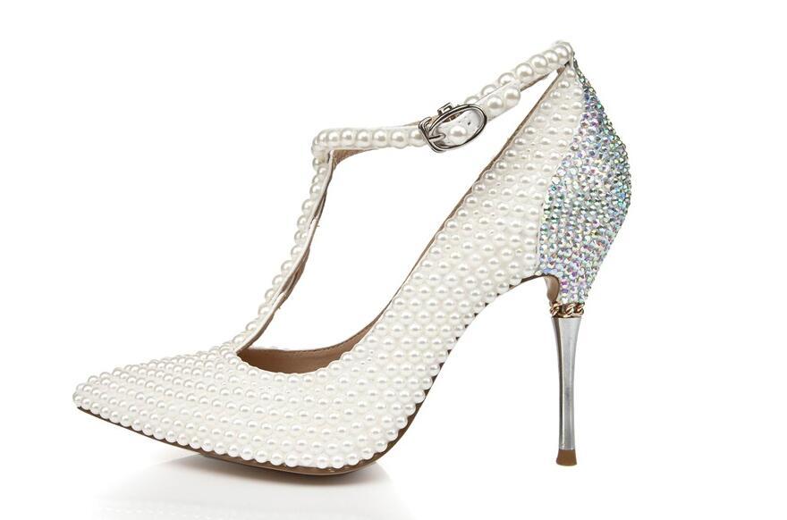Verni Chaussures Mince Bout attaché Perle Mariage Doux Blanc Croix Kaeve Cuir Chaîne Pointu En Talons Femmes Pompes De UwqzIxnvn0