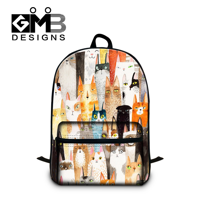 Cute cat Illustration backpack for teenager children girls fashion school bookbags boys animal shoulder back pack college bags